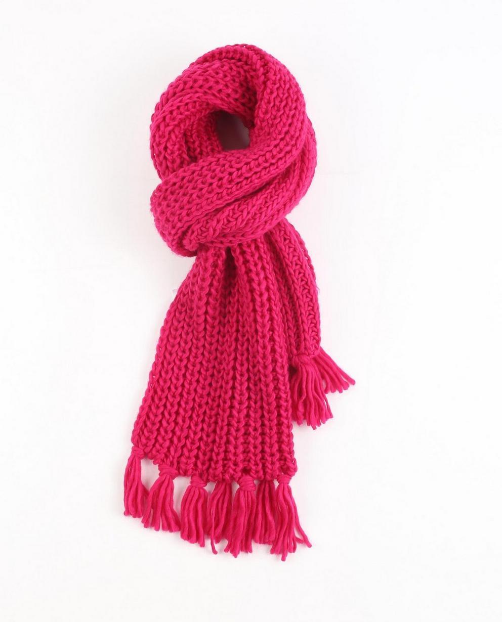 Grofgebreide sjaal - in fuchsiaroze - JBC
